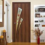 Двери межкомнатные Омис  Триумф ФП+Ф экошпон  с матовым стеклом и фотопечатью, цвет орех, фото 2