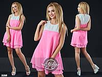 Яркое шифоновое платье розовое