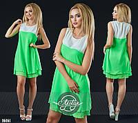 Яркое шифоновое платье салатовое