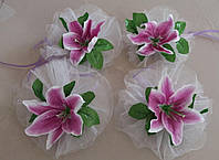 Цветы на ручки свадебного авто (сиреневая лилия) 4 шт.