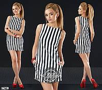 Платье мини в полосочку с кармашками черно-белая полоса