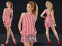 Платье мини в полосочку с кармашками красно-белая полоса