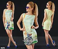 Лёгкое льняное платье шифт желтое