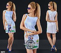 Лёгкое льняное платье шифт белое