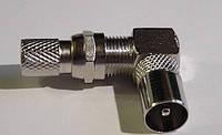 Штекер антенный металлический угловой c гайкой