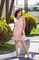 Женское летнее батальное платье с с отделкой из  плиссированного шифона