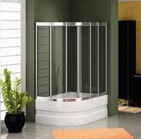 Раздвижная шторка на ванну: радиусная, наполнение - каленое стекло прозрачное, профиль - хром.