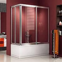 Угловая шторка на ванну: двустворчатая, наполнение каленое стекло прозрачное, профиль хром.