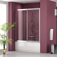 Раздвижная шторка на ванну: двустворчатая, наполнение - каленое стекло прозрачное, профиль - хром.