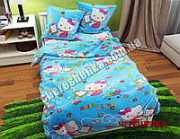 """Полуторный набор постельного белья Бязь """"Gold"""" Hello Kitty №2021"""