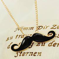 Модная подвеска Усы, ожерелье, цепочка с кулоном Усы, цвет металла - золото, цвет кулона - черный