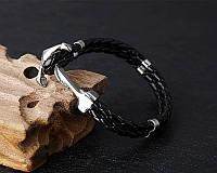 Мужской кожаный браслет Якорь