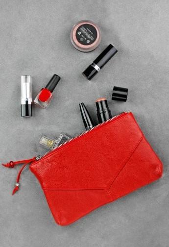 Косметичка шкіряна жіноча червона (ручна робота)