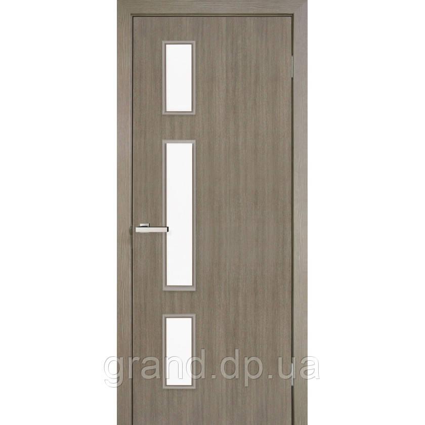 Двери межкомнатные Омис  Соло экошпон остекленная,цвет  сосна мадейра