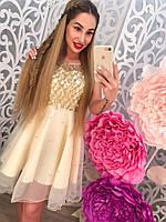 Красивое женское платье с органзы и бусинками