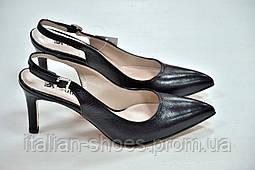 Черные кожаные босоножки туфли с открытой пяткой 4116