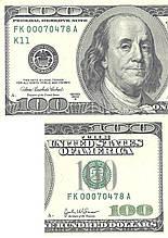 Вафельна картинка 100 dollars 2