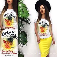 Костюм женский стильный футболка с надписями и юбка-карандаш