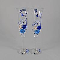 """Свадебные бокалы """"Синие цветы"""""""