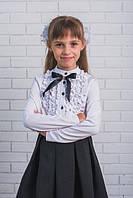 Красивая, стильная, белая школьная блузка с бантиком для девочки  рост - 128, 134, 140, 146, 152