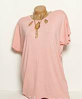 Женская футболка большого размера c украшением ( 52/ 54/ 56 )