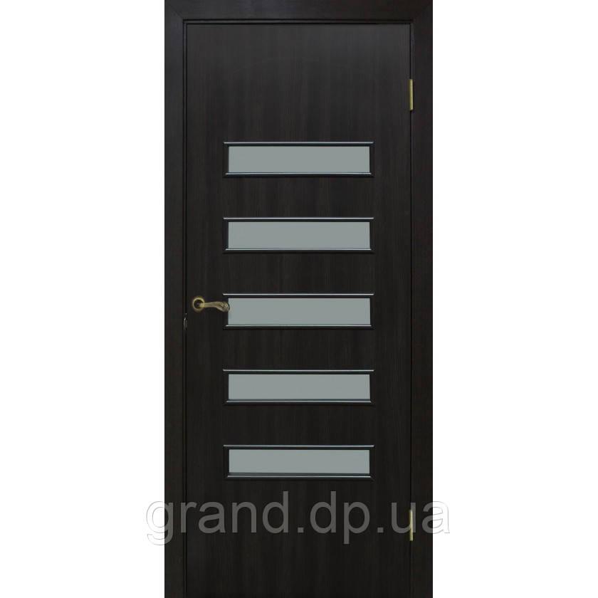 Двери межкомнатные Омис  Аккорд 3 экошпон остекленная, цвет венге