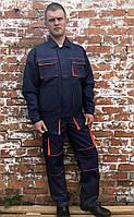 """Костюм рабочий с брюками """"Атлант"""" синий с оранжевым, рабочая спецодежда"""