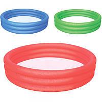 BW Бассейн 51026 детский, круглый, 3 кольца, 317л, рем. запл, 3 цвета, 152-30см, в кульке, 33-29см
