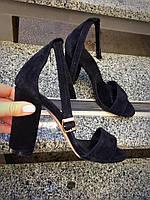 Женские босоножки на каблуке 10 см, натуральная замша, черные / модные босоножки для девочек, удобные