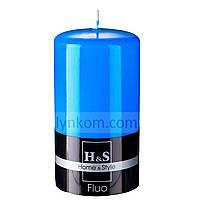 Свеча синяя цилиндр 80х150 мм, фото 1