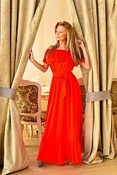 Женское длинное платье на лето в пол с воланами из  полированный шелк. Размеры 42-44, 44-46 VH 8015