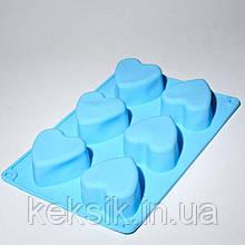 Форма силикон кекс Сердце 6 шт