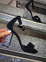 Женские босоножки на каблуке 10 см, натуральная замша, черные / летние босоножки для девочек, стильные