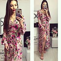 Женское длинное платье-халат в цветочный принт. Ткань: креп. Размер: универсальный смл.