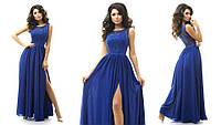 Женское нарядное длинное платье с гипюром в разных цветах. Ткань: креп-шифон, гипюр. Размер: 42,44,46.