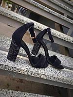 Женские босоножки на каблуке 10 см, натуральная замша, черные / летние босоножки для девочек, удобные