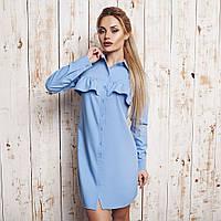 Женское короткое голубое платье. Ткань: рубашечная(хлопок-поплин). Размер 42-44
