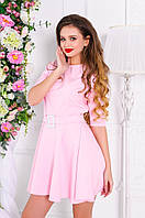 Женское короткое платье с пояском. Ткань: креп костюмка. Размер: см,мл. Цвет: пудра,голубой,сиреневый,красный.