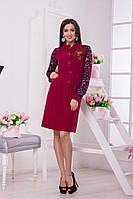 Женское платье по колено с гипюром. Ткань: костюмная/джинс. Размер: 42-44, 44-46.