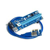 Райзер T-Riser PCI-E 1x to 16x 60cm v.06 90° Blue