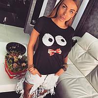 Женская футболка с разными принтами из пайеток и камней. Размер универсальный 42,46. Материал коттон.
