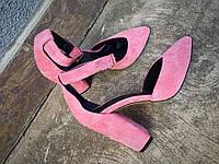 Женские туфли, на низком каблуке 10 см, натуральный замш, розовые / туфли женские модные