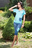 Костюм женский. Ткань: двухнитка + джинс Размеры:42,44.KV 108