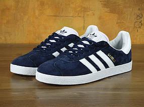 Мужские кроссовки Adidas Gazelle Navy Blue, фото 2
