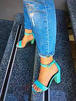 Женские босоножки на каблуке 10 см, натуральная кожа, голубые / босоножки женские, стильные