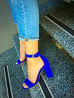 Женские босоножки на каблуке 10 см, натуральный замш, синие / босоножки женские, удобные