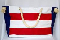 Пляжная текстильная сумка с морским принтом в полоску