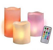 Комплект світлодіодних свічок різної висоти з пультом управління, нічник Luma Candles Color Changing