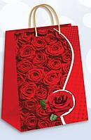Бумажный подарочный пакет гигант вертикальный - Красные розы К