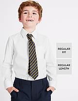 Школьная рубашка белая с длинным рукавом на мальчика 5-6-7-8-9-10 лет Easy to Iron Marks&Spencer (Англия)